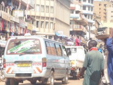 Kampala - congestion near to bus rank.