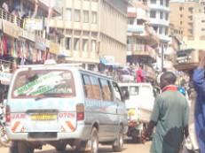 Kampala - congestion near to bus rank.