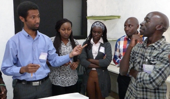 Nairobi participants identifying locations for case studies